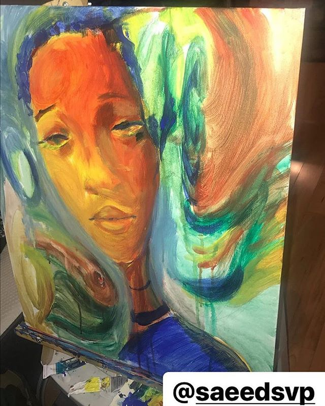 @jayeooh Thanks for the love 🙏🏾💯 New piece last night #with squad #gaze into the space #16x20 #acrylic #canvas #peace #love #abundance #balance and #harmony