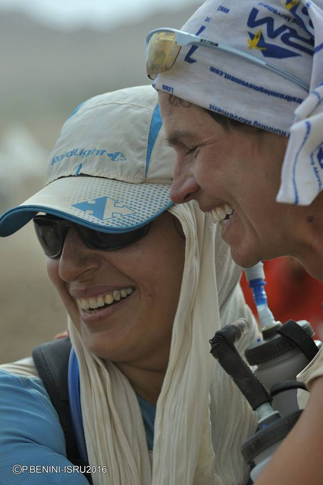 Mahsa Torabi with Stephanie Case, Founder and President of Free to Run, at the end of a 250K ultra race across the Iranian Dasht-e-Lut desert. Photo by Beatrice DI Tomizio - XRO