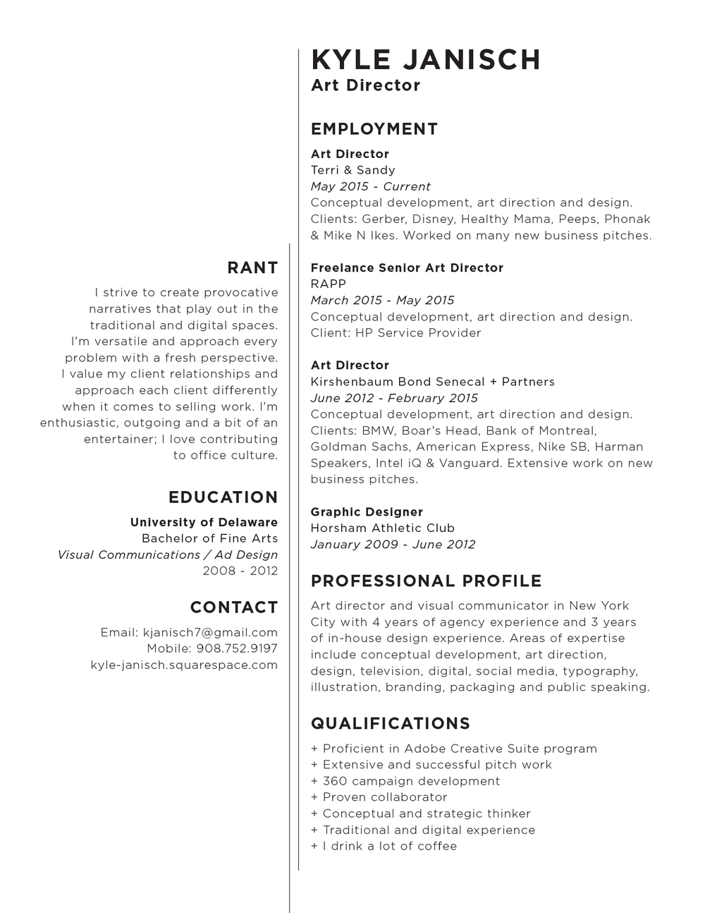 Resume Kyle Janisch Art Director