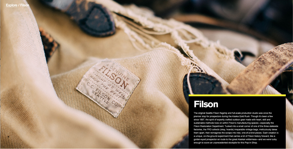 I PRODUCED PHOTOS + COPY FOR THE FILSON EDITORIAL PIECE AND BRAND CONTENT