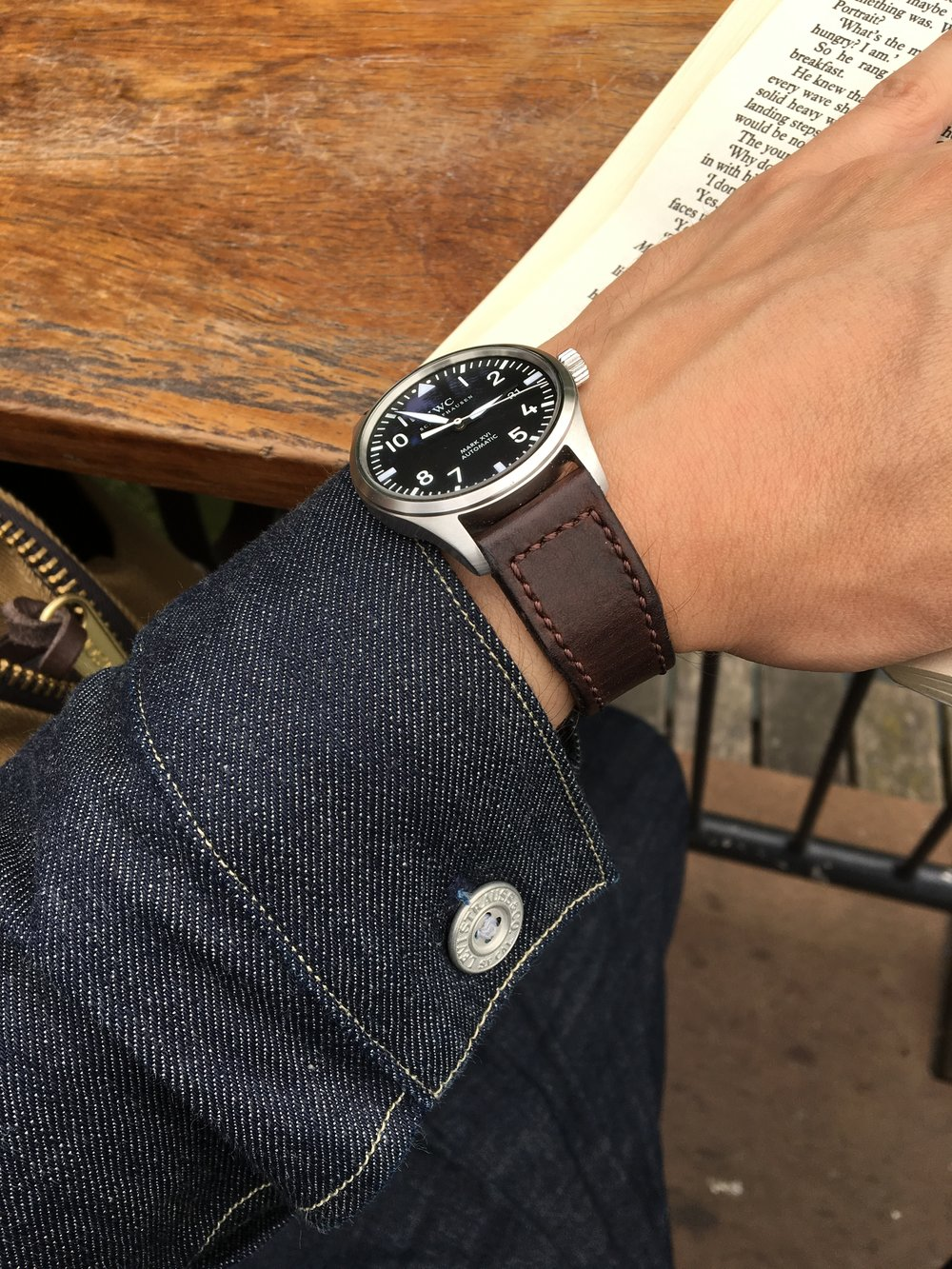 Casual snob IWC Mark XVI and Brown Strap.JPG