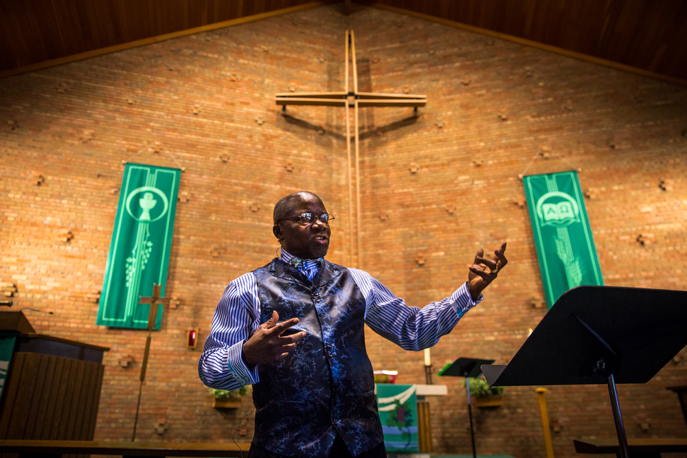 The Rev. Christian V. Vincent, Sr. sheds his robes for Cross of Glory's Sunday contemporary service, designed to attract a younger congregation with musical worship and active sermons.