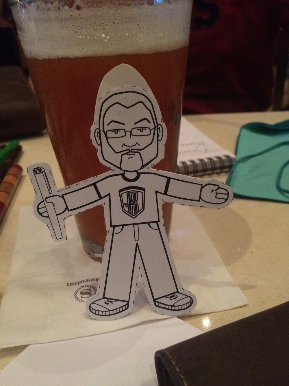 Flat Dan joins us at the bar.