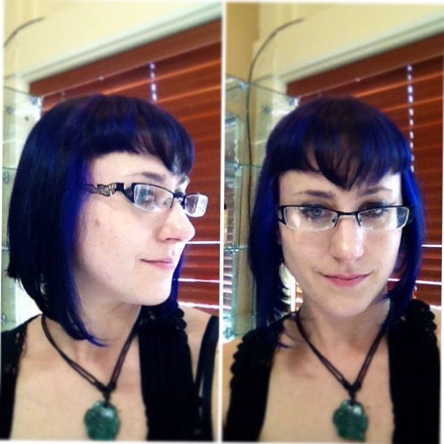 New cute 'do by #hairstylist Lan Nguyen - #asymmetrical bob #haircut and #blue #purple color with peaked bangs. #loveit! #nofilter #pravana