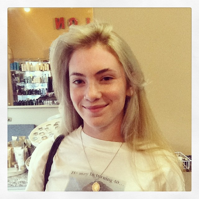 She came in with baby chick yellow hair, and left with a luscious #platinum. Another happy customer!