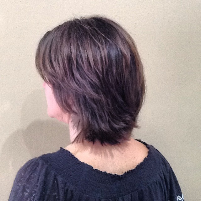 @matrix #demi-permanent #ColorSync for #grey blending and #shine. She used #razorcutting techniques to thin down her very thick hair, and #shears for texturizing. To #style, she used @love_kevin_murphy #EasyRider for more texture.
