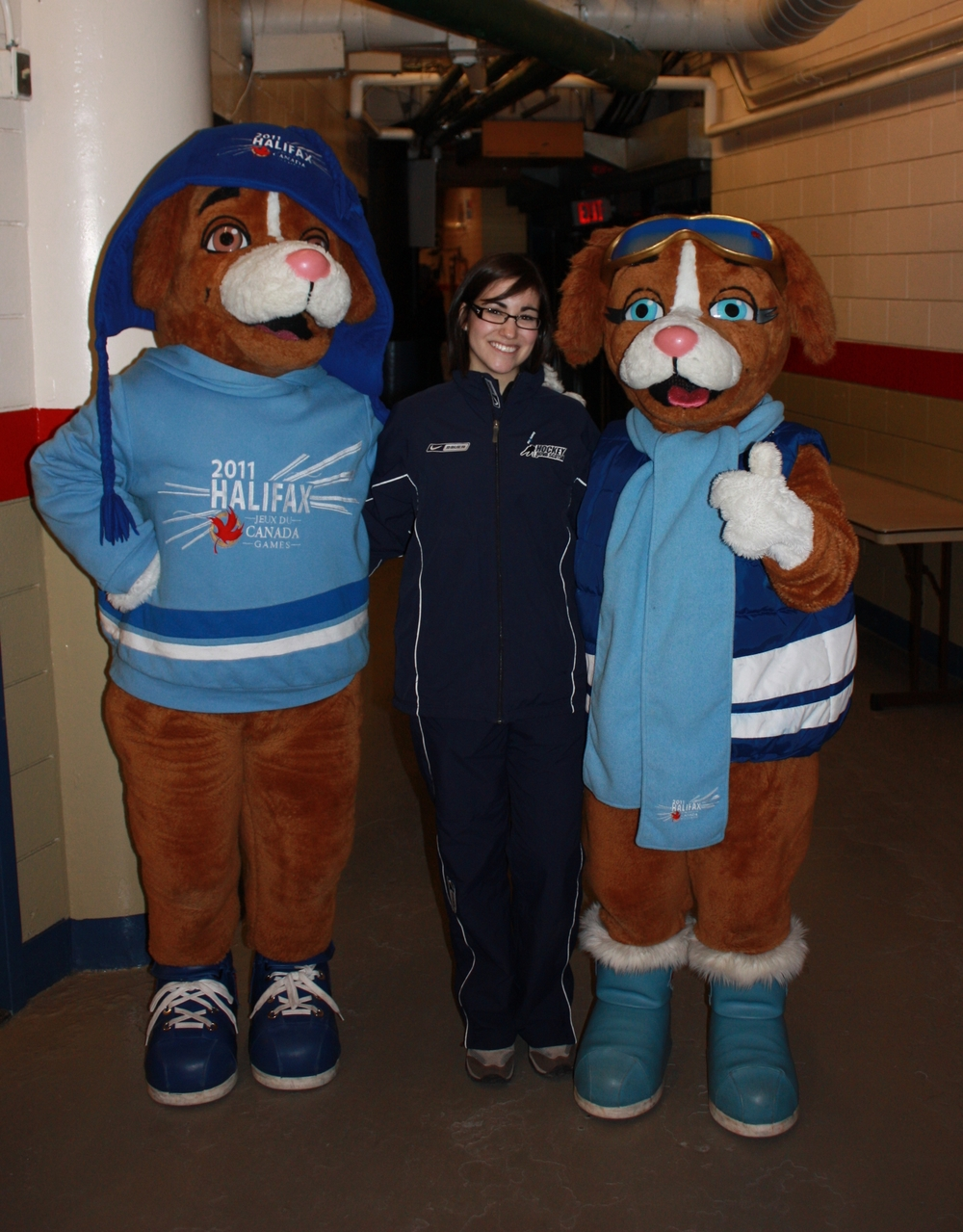 With the mascots of the 2011 Canada Winter Games, Halifax