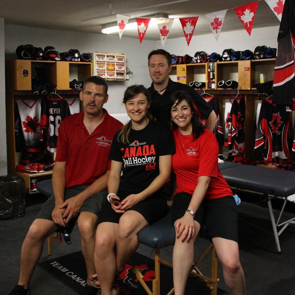 Junior Ball Hockey Team Canada therapists, Bratislava Slovakia, 2014