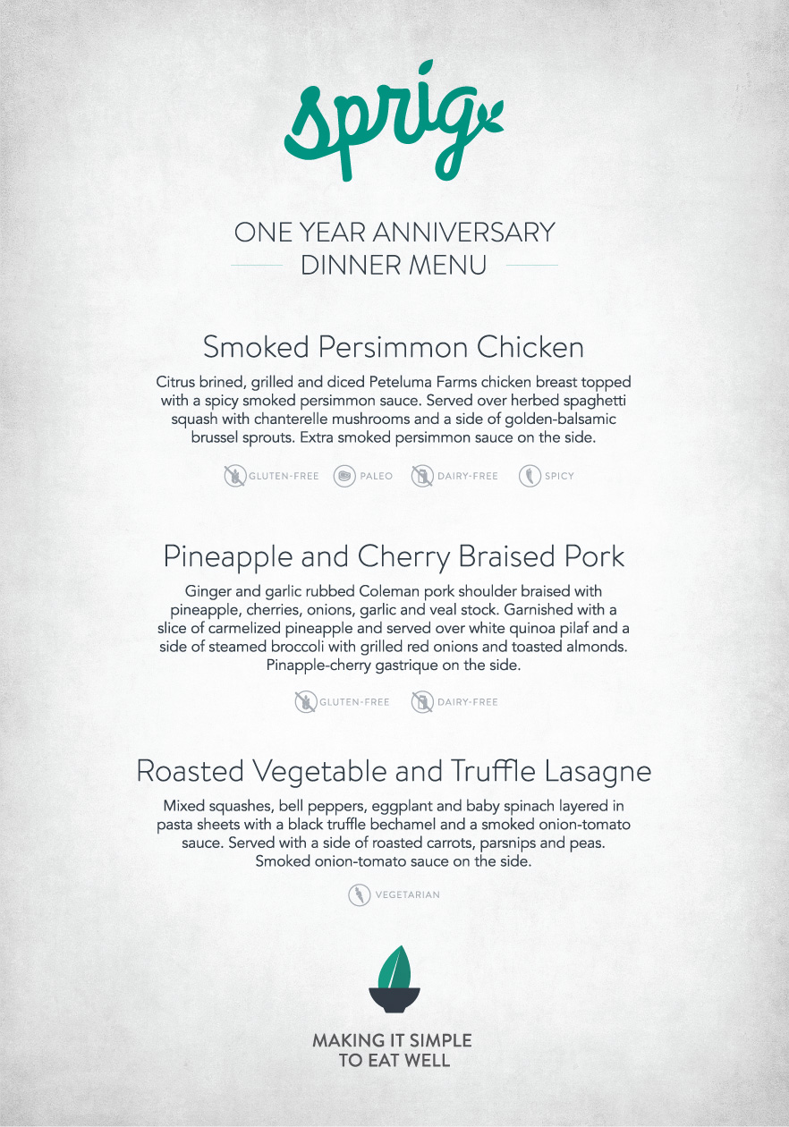 Sprig's 1-year Anniversary Dinner Menu