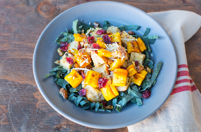 Roasted Squash Panzanella : Roasted butternut squash with toasted sourdough bread, fresh thyme, toasted walnuts, dried cranberries in a toasted hazelnut vinaigrette. All served on a bed of kale topped with pecorino cheese.