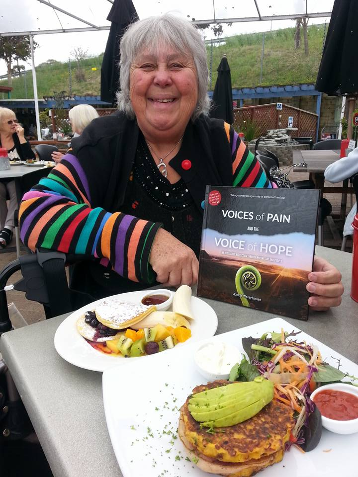 This is my good friend Grace displaying her copy of Voices of Pain and the Voice of Hope. Thanks Grace for all your support and a particularly delicious lunch date!
