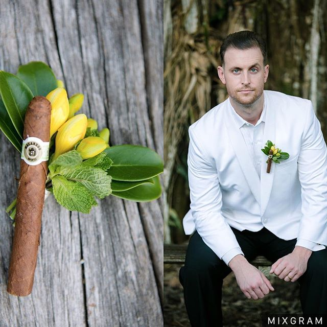 One of my favorite things to design for our shoot featured on @weddingchicks was this Cuban inspired boutonnière with a cigar!! So much FUN! Check link on my profile to see more of the shot plus all the vendors who made this magic happen! #flowerly #flowerlystudio #weddingchicks #boutonniere #cubaninspired