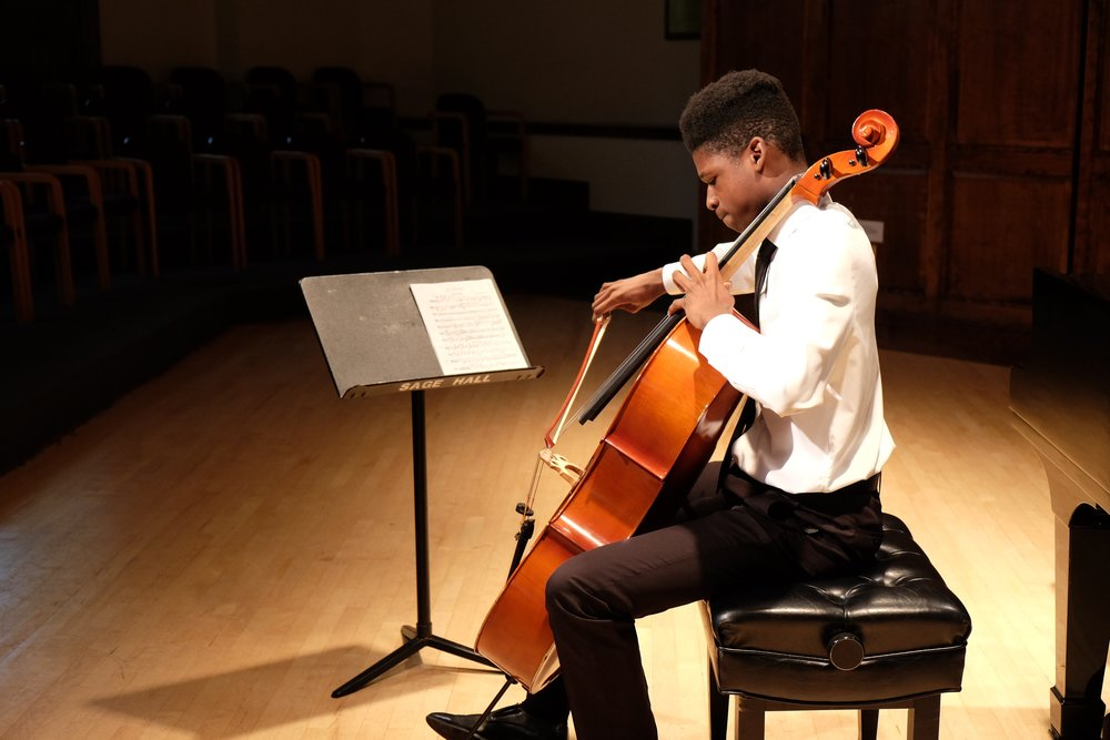Frederic Renaud, Cello  Frederic Renaud grew up in New York City where he attended the Special Music School and performed with Face the Music as well as numerous other New York City based music programs. He was a selected Young Artist in the 2017 Lyra Music Festival and Workshop. Mr. Renaud is currently a Freshman at the Boston Conservatory at Berklee.