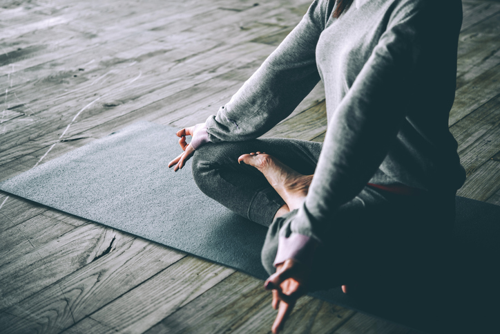 Holiday yoga sweater meditate