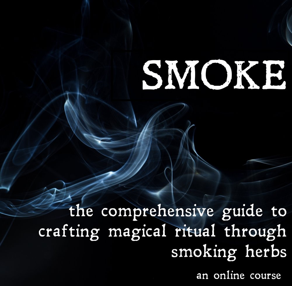 SMOKE: the comprehensive guide to crafting magical ritual through smoking herbs - Smoking is an ancient ritual, a powerful act that connects us with the spirit world, the plant world, and ourselves. Smoking herbs can bring magic, deliciousness, and transcendence into your life.But where to start? Maybe you already have a smoking routine, and you'd like to mix it up but you don't know which herbs are safe to smoke. Or you want to smoke herbs, but you don't even own a pipe.In this in-depth course, you will learn all aspects of smoking, from how to pack a pipe to which herbs you can smoke.