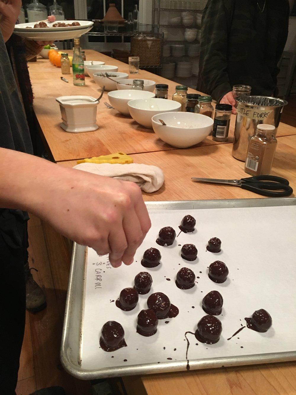 Making herbal aphrodisiac truffles… yummm