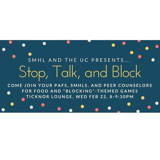 Stop, Talk, and Block!  Tonight!!
