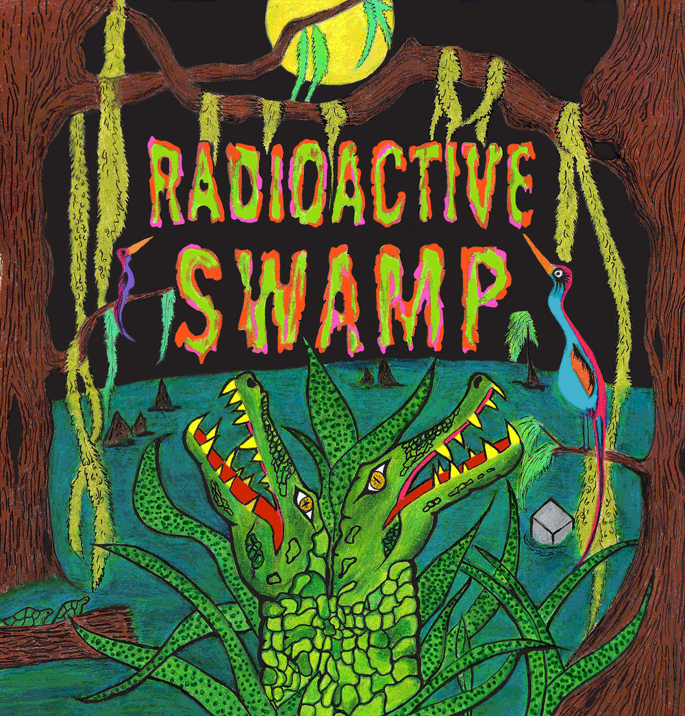 Radioactive Swamp     Opening Reception: Sat, Oct 22nd 7pm - 12am    Oct 22nd - Nov 5th   Legend has it somewhere deep in the south there is a swamp that glows neon green. Back in WW2 a paratrooper found a small box (no bigger than an orange) on his plane and became obsessed with its contents. Upon his discharge, he smuggled the box from the plane and stowed it away in his sack. When he finally was able to open the box and saw what was inside, he got nervous and ditched it in a local swamp. After years of weathering, the box eventually cracked and the contents, which we now know was a glowing heap of radium, slowly seeped out and infected everything the swamp touched. Alligators became 2 headed, fish with 3 eyes appeared, and the swamp birds' massive wingspans glowed neon in the mossy trees. People who lived along the swamp refused to move, they fished and ate the creatures in the swamp. They kept amongst themselves and lived in isolation.  Radioactive Swamp  is an homage to the legend which may or may not have been started right here.   Andrew Darling / Andrew Goldfarb / Brad Douglas / Caren Anderson / Chris D.O.G.T. / Chris Farris / Cindy Parra / Craig Gleason / Dang Wayne Olsen / Giovanni Forlino / John Vochatzer / Josh Brizuela / Katie Benn / Shea Bartel / Thomas Fernandez / Victoria Heifner / Zac Amendolia