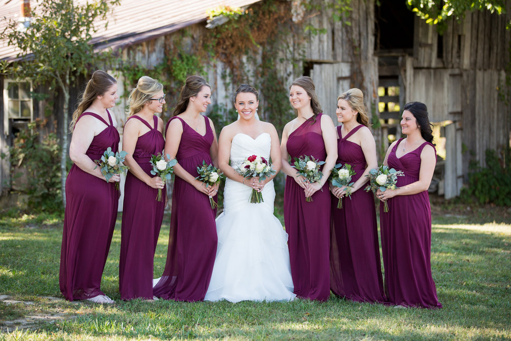 Morgan and her bridal party at The Barn at Stone Valley Plantation, Pleasant Hope, Missouri.