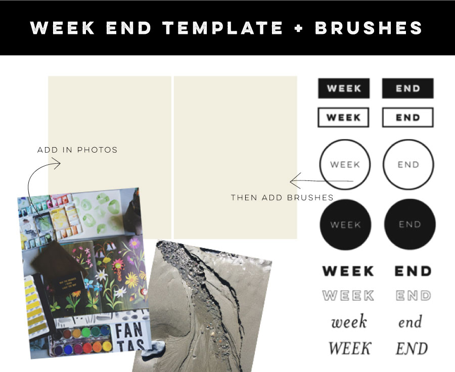 LLP blog | First Friday Freebie | Week End template + brushes