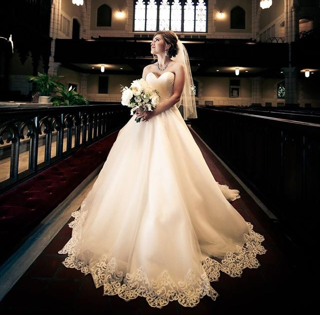 ballgown family heirloom cameo wedding dress