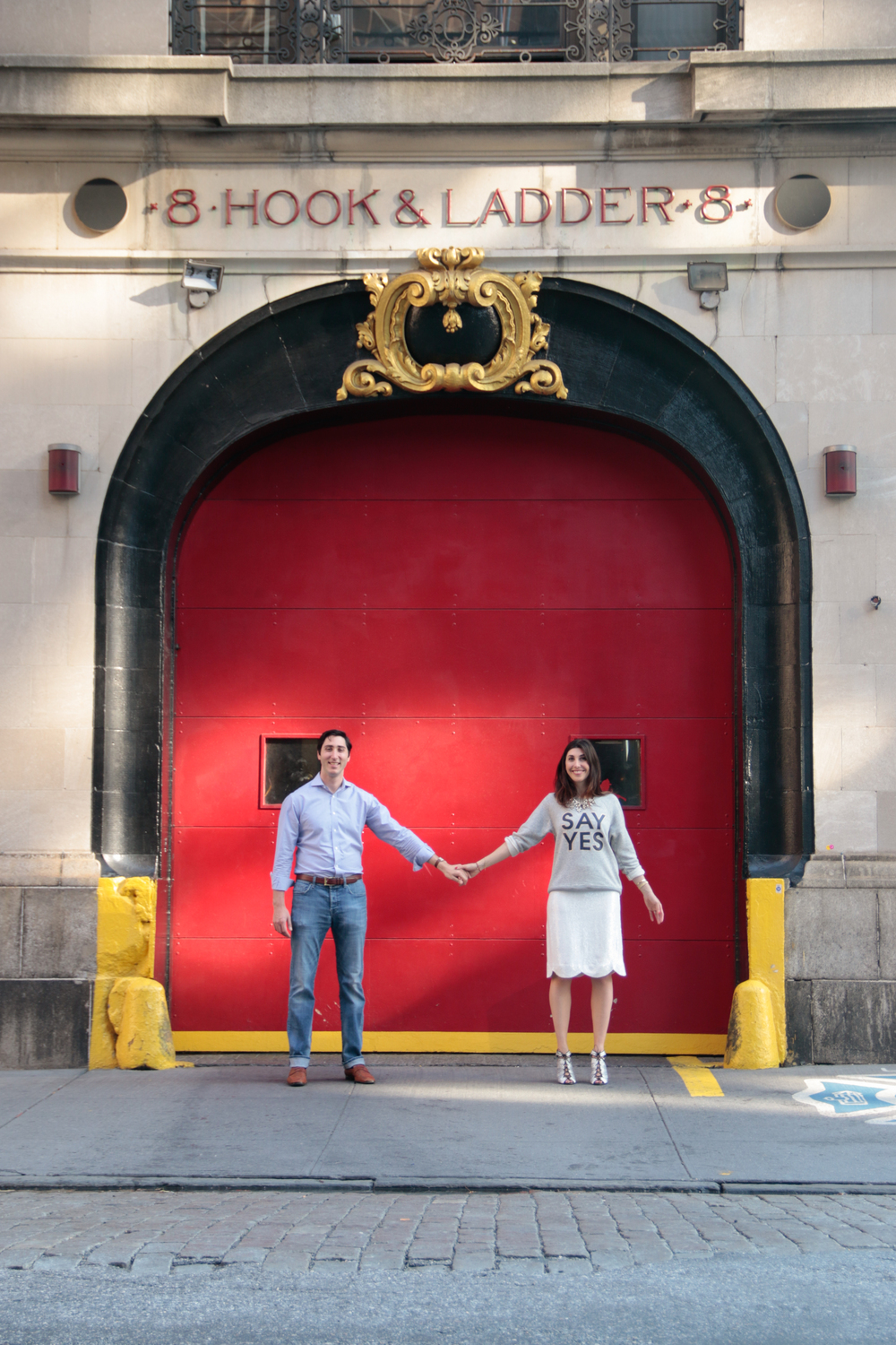 Tribeca NYC Engagement Photography - Ghostbusters Firehouse
