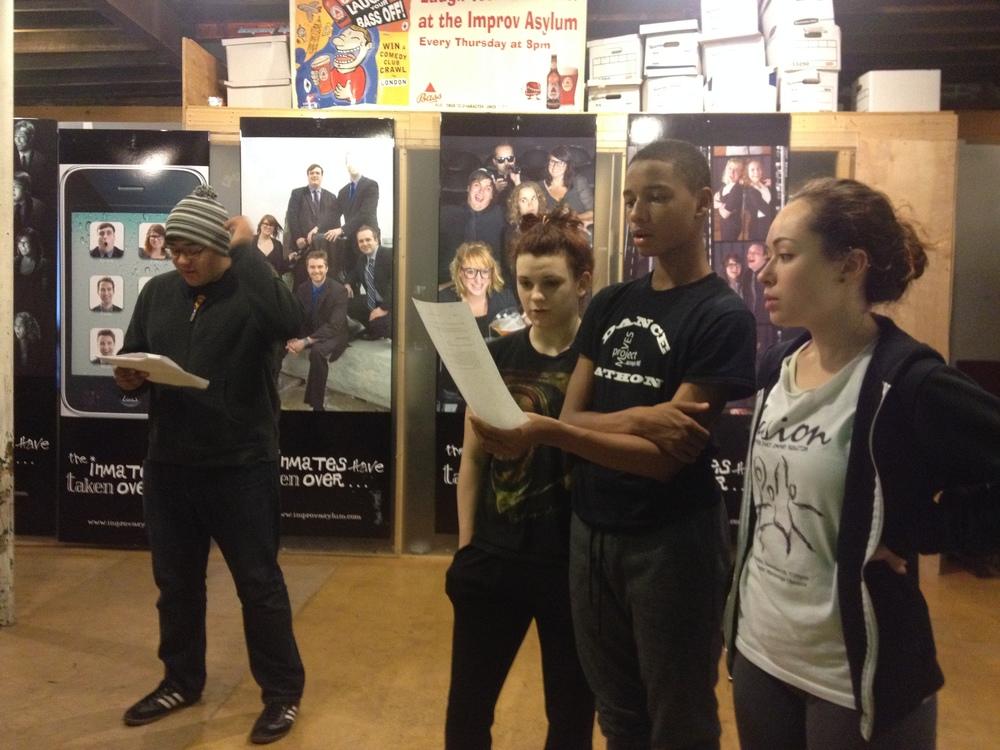 Michael Rodriguez, Kaylee Millis, James Butler and Katie Lohman rehearse %22Evening Prayer.%22.JPG