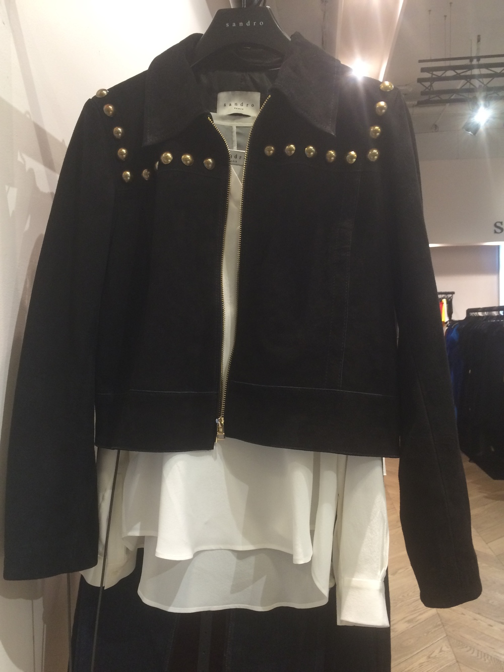 Sandro jacket with dome studs
