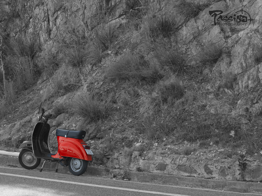 Vespa on the Amalfi coast as we stopped for Lemoncello