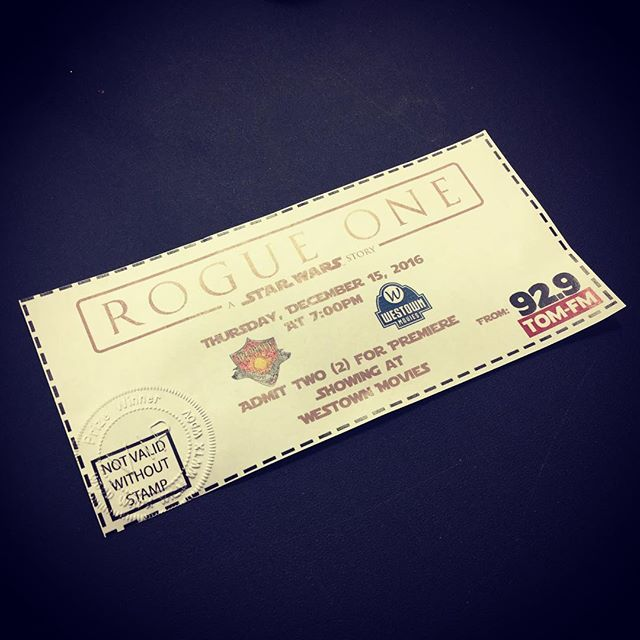 We have a specialty ticket remaining from yesterday's broadcast for entry for two to the premier tonight at 7:00 pm to see Rogue One: A Star Wars Story! Whoever can stop in first to our office today will win these tickets! #StarWars #RogueOne #Giveaway