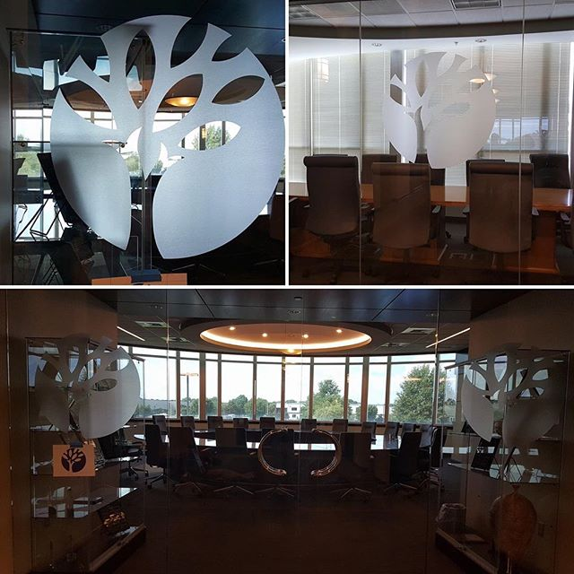 Corporate Logos give this conference room a touch of class, using #llumarfilms #frostfilm #customlogos