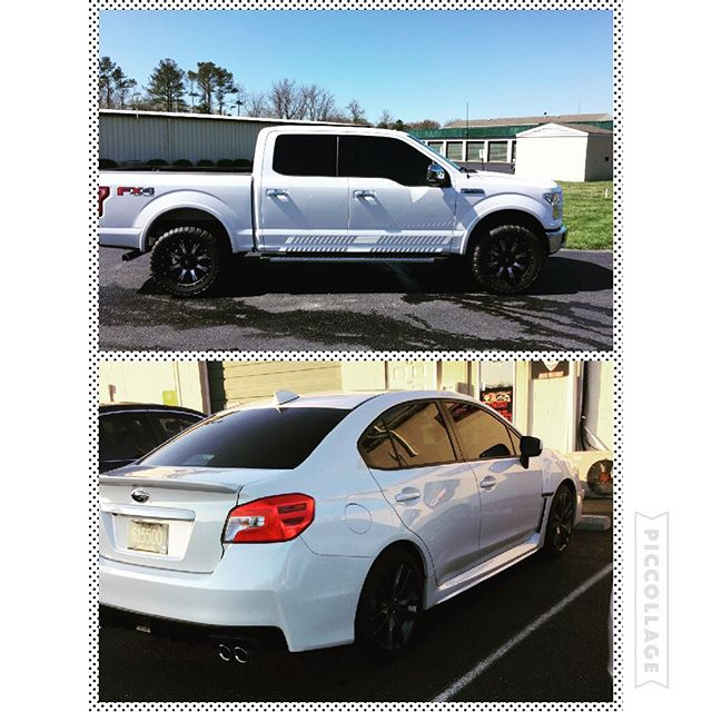 These beauties are all ready for summer #wrx #f150 #3m #llumar #white