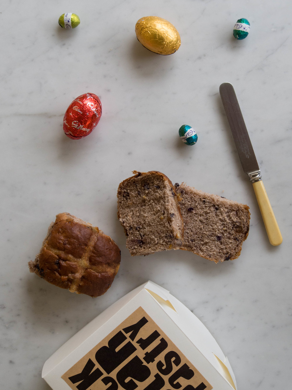 Some Easter eggs and the Hot Cross Buns from  Black Star Pastry .