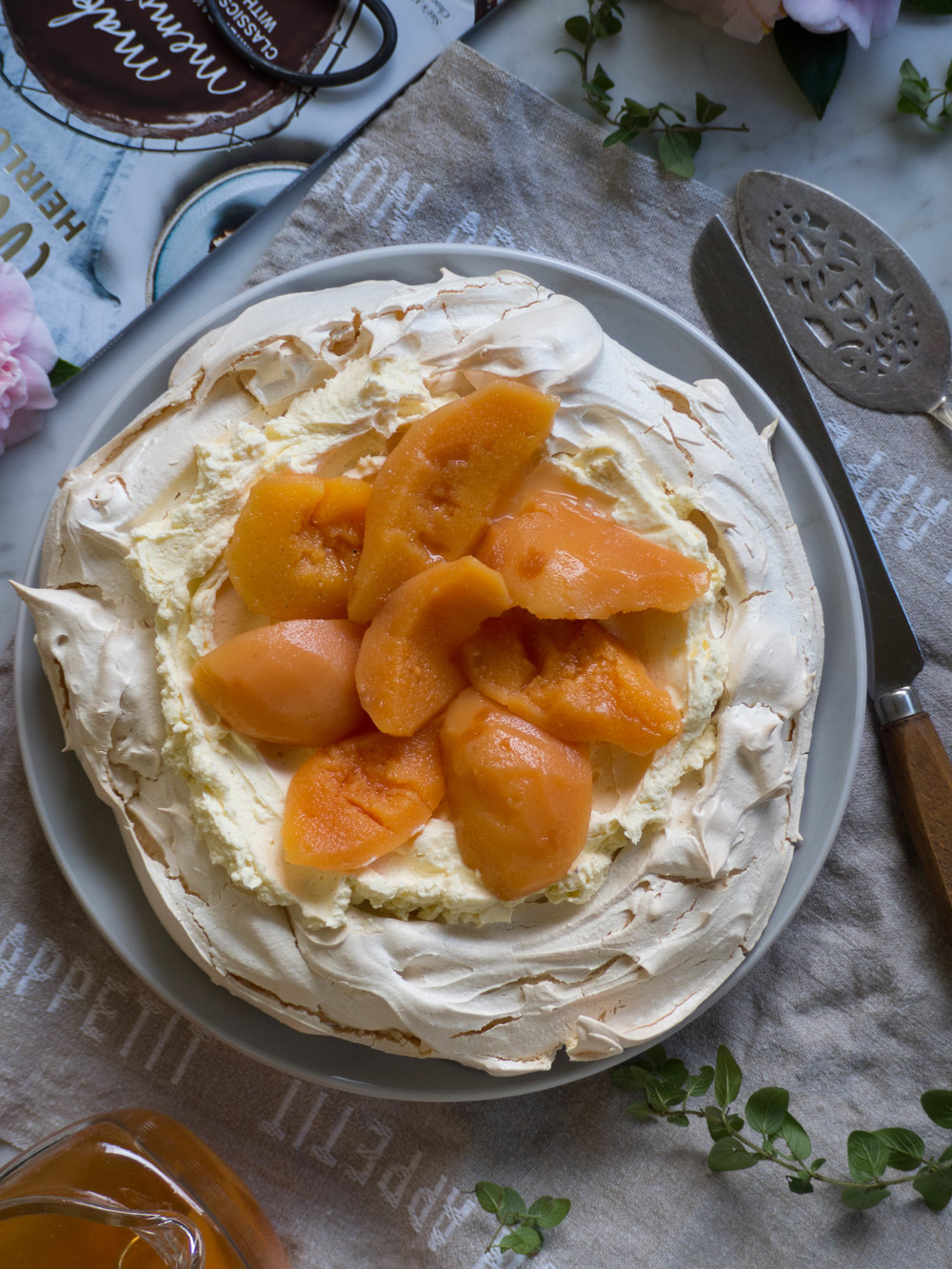 Winter Pavlova with Poached Quinces