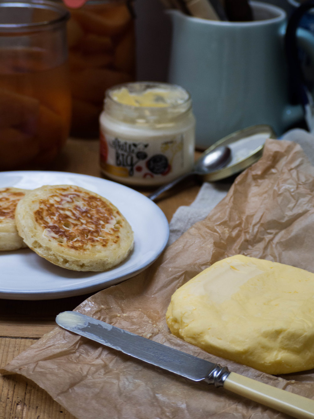 Buttermilk Crumpets with Homemade Butter