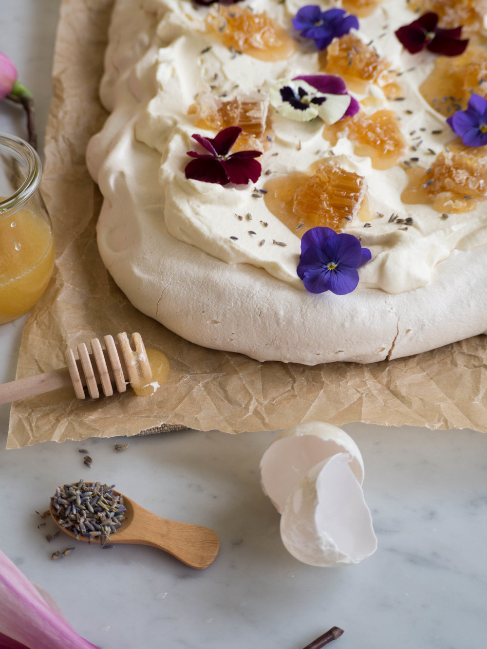 Duck Egg Pavlova with Fresh Honeycomb