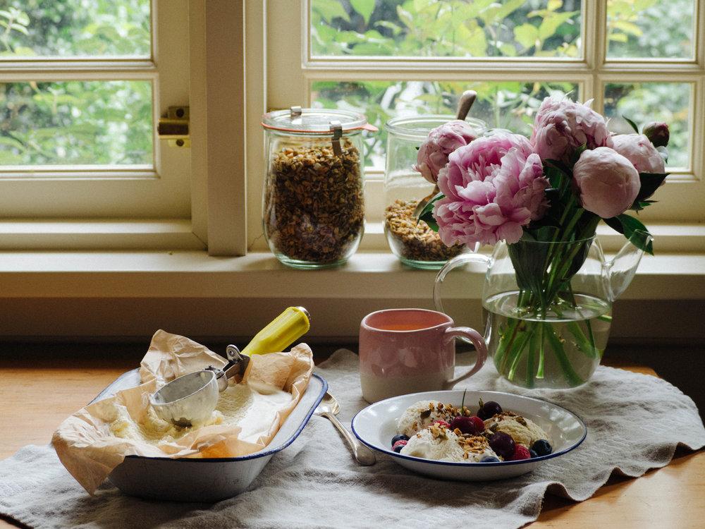 My massive sugar rush 'breakfast' - honey ice cream with homemade muesli and berries!