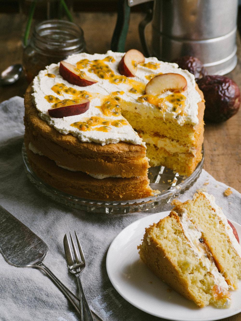 White Peach & Passionfruit Sponge Cake