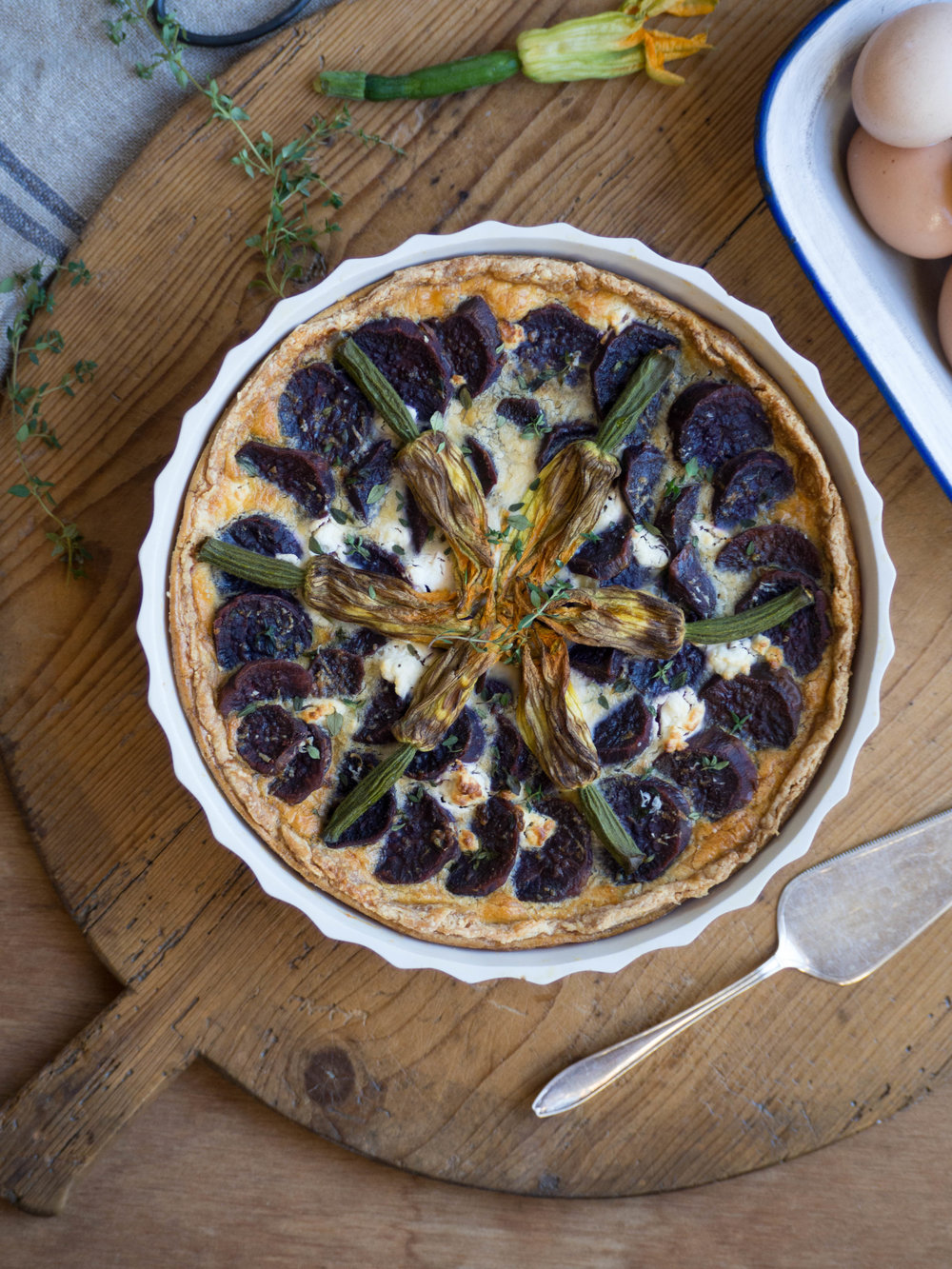 Purple Sweet Potato & Zucchini Flower Quiche