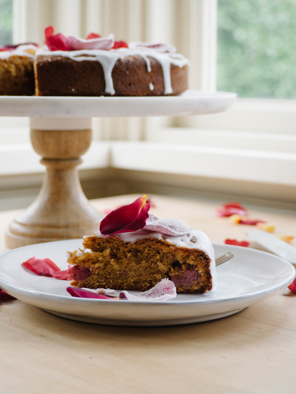 Summer Spelt Almond Cake with Rose