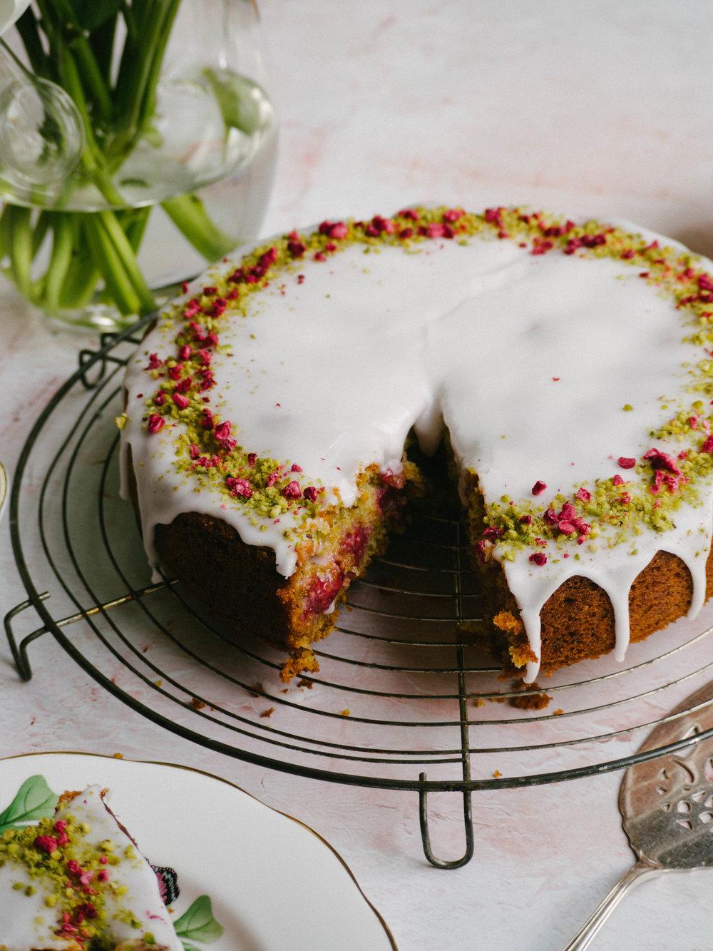 Pistachio Raspberry & Rose Cake
