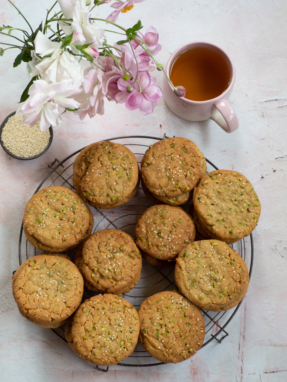 Syrian Inspired Sesame and Pistachio Biscuits