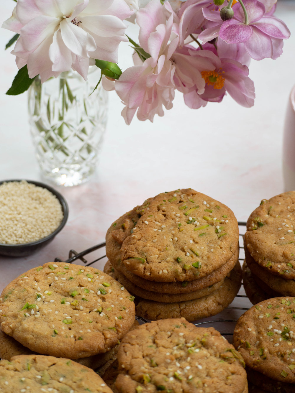 Sesame and Pistachio Cookies