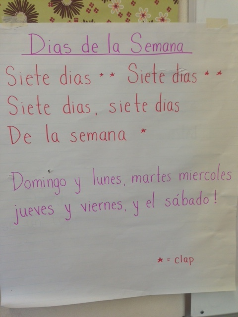 "The ""Days of the Week"" song Oriana is teaching her Arbor 2nd and 3rd graders.  She learned this in her public school dual language classroom placement."