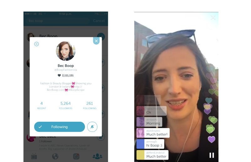 Rebecca Casserly scoping on Periscope from London.