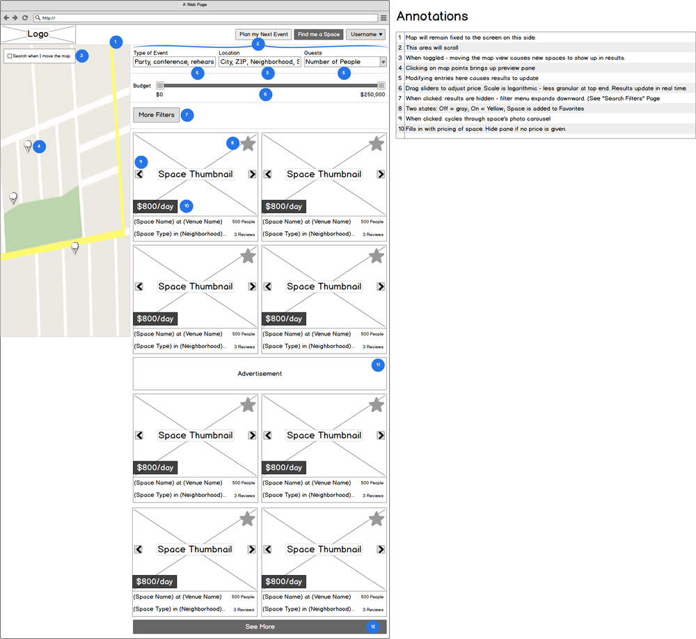 Annotated Wireframes: Search Page