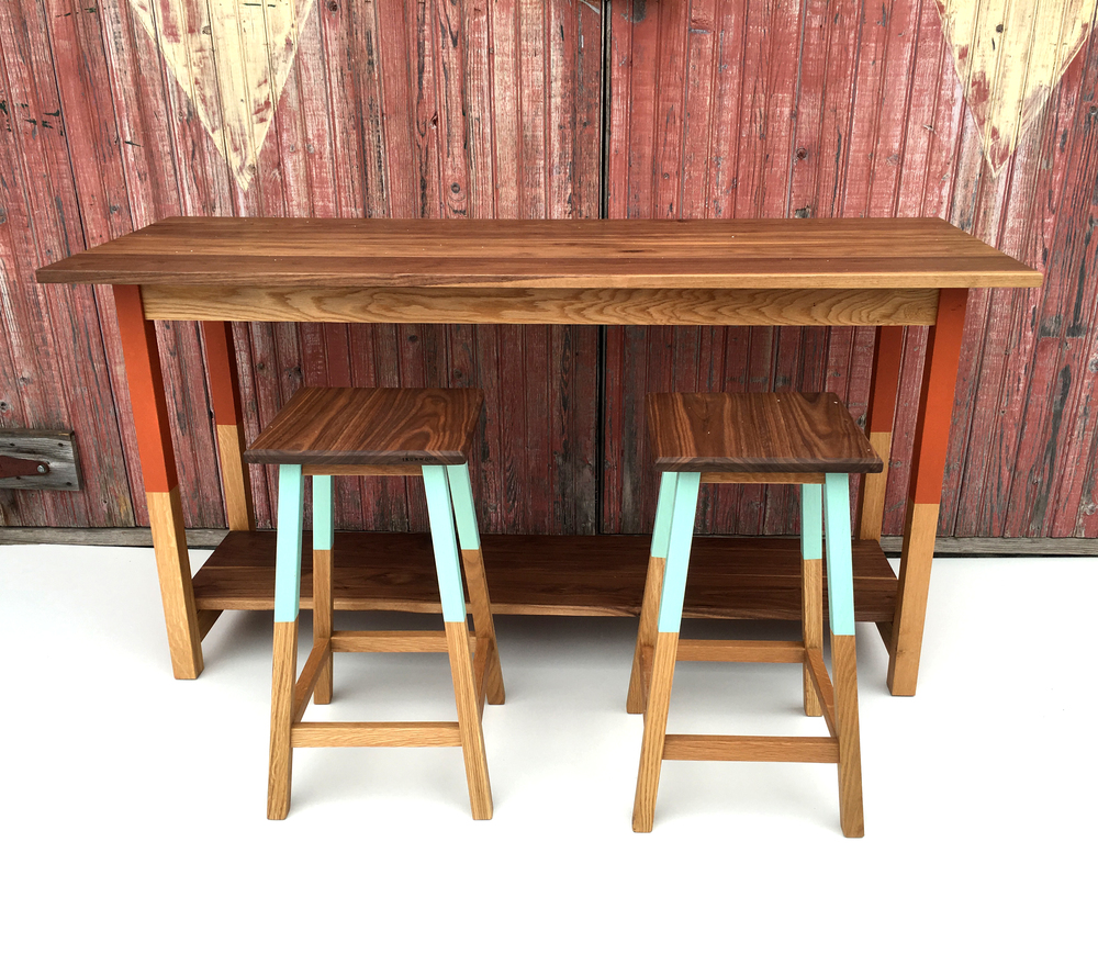 Studio Table with Carnelian paint accent & Kitchen Stools with Aqua paint accent.