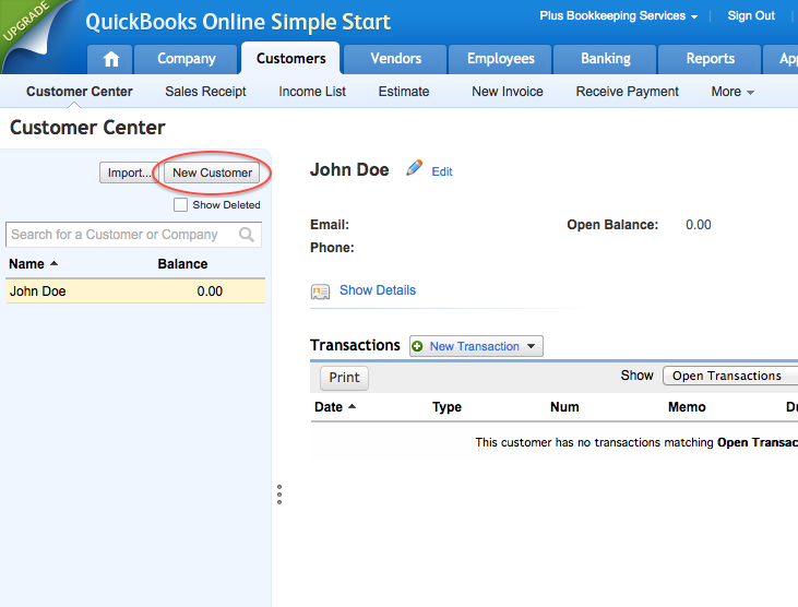 Create a New Customer in QuickBooks Online