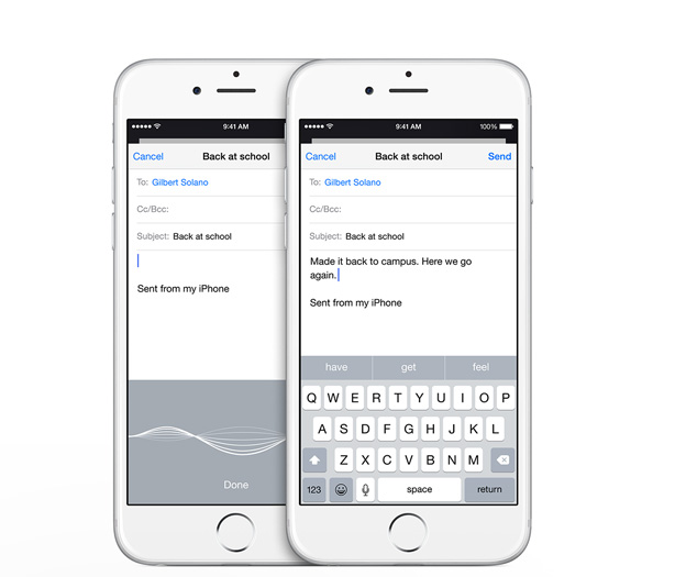 Dictation on iOS 8