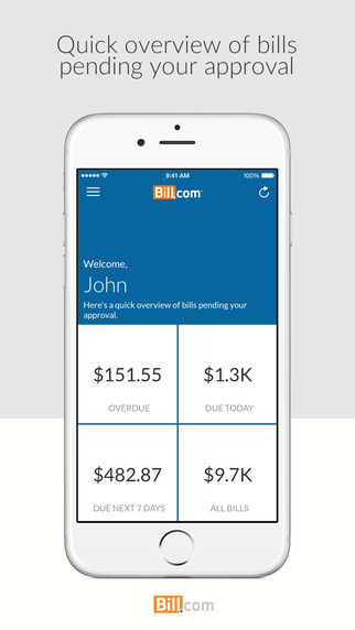 Screenshot of the Bill.com iOS app dashboard